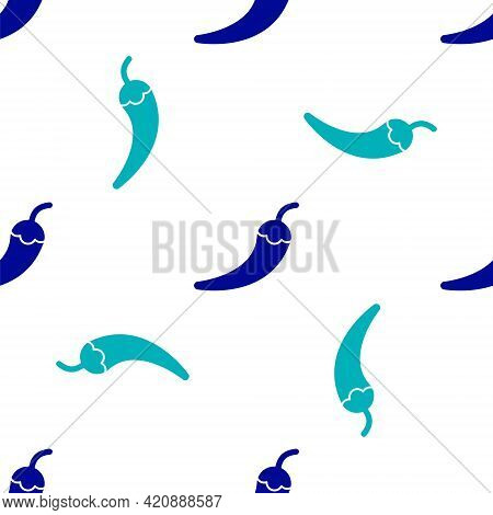 Blue Hot Chili Pepper Pod Icon Isolated Seamless Pattern On White Background. Design For Grocery, Cu