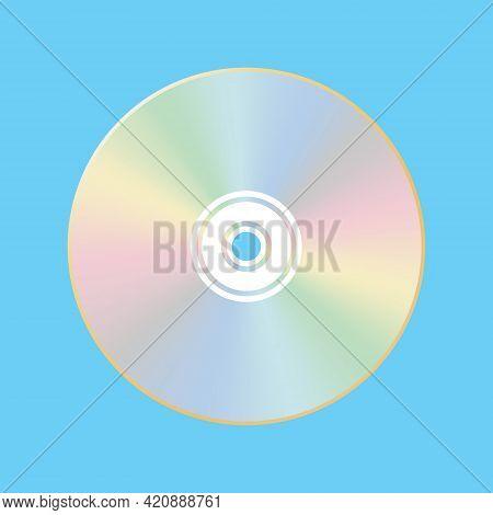 Cd, Dvd Laser Disk. Retro Technologies. Isolated Blue Background. Vector Illustration.