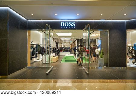 SINGAPORE - CIRCA JANUARY, 2020: entrance to Boss store in Nge Ann City shopping center.