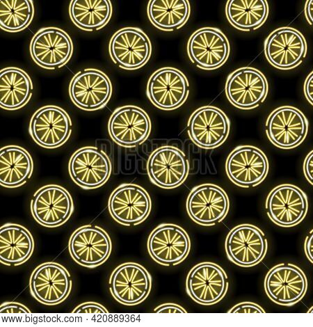 Neon Lemon Slices Seamless Pattern With Fruits Icons On A Black Background. Summer, Lemonade, Sour,