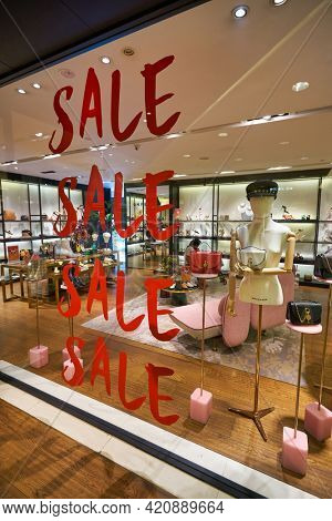 SINGAPORE - CIRCA JANUARY, 2020: Sale sign as seen at On Pedder storefront in Nge Ann City shopping center.