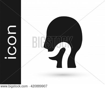 Black Sore Throat Icon Isolated On White Background. Pain In Throat. Flu, Grippe, Influenza, Angina.