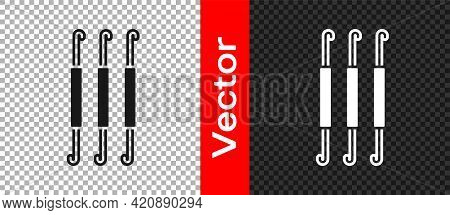 Black Crochet Hook Icon Isolated On Transparent Background. Knitting Hook. Vector