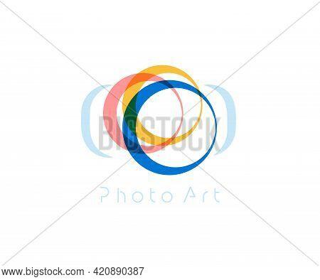 Camera Abstract Vector Logo Template, Minimal Design Logotype Concept For Digital Art Studio, Photo