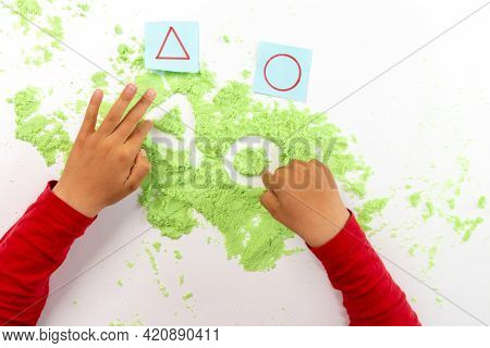 Kid Play Kinetic Sand Or Magic Green Sand, Geometric Shapes Practice For Kids, Preschool Writing Act