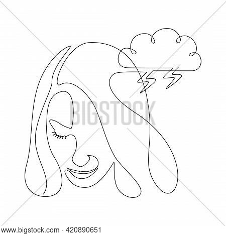 Continuous One Line Drawing Of A Woman Face With Storm Cloud. Concept Of Confused Feelings Worried A