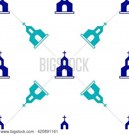 Blue Church Building Icon Isolated Seamless Pattern On White Background. Christian Church. Religion