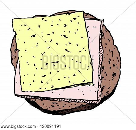Sandwich Bread Cheese Ham In American Style On Isolated White Background. Healthy Sandwich. Vector I