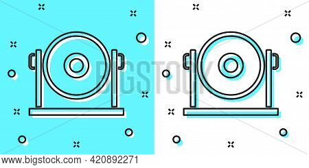 Black Line Gong Musical Percussion Instrument Circular Metal Disc Icon Isolated On Green And White B