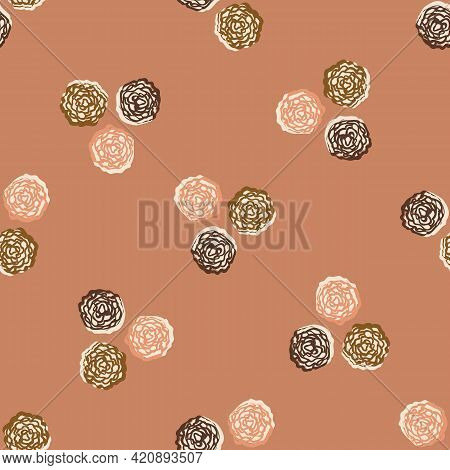 Seamless Minimalist Doodle Dot Pattern Background. Calm Boho Earthy Tone Color Wallpaper. Simple Mod