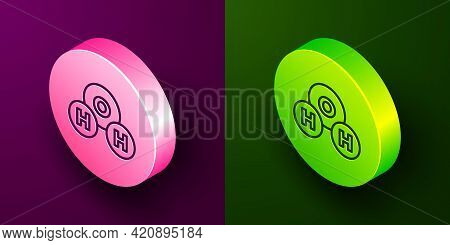 Isometric Line Chemical Formula For Water Drops H2o Shaped Icon Isolated On Purple And Green Backgro