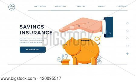 Savings Insurance Homepage Template. Insurance Agent Is Holding Hand Over The Piggy Bank To Protect