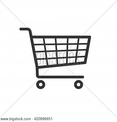 Shopping Cart Icon Symbol. Flat Shape Trolley Web Store Button. Online Shop Logo Sign. Vector Illust