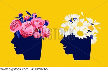 Mental Health Concept. Abstract Image Of A Head With Flowers Inside. Peonies, Flowers And Leaves As