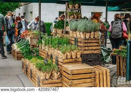 Prague, Czech Republic - May 15, 2021.traditional Farmers Market In Quarter Of Dejvice.seller And Cu