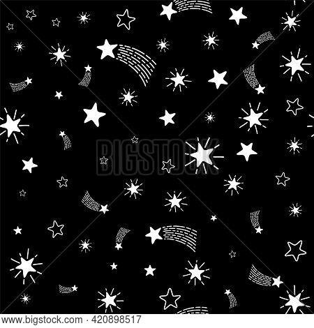 Lovely Shooting Stars Meteor Shower Vector Seamless Pattern.