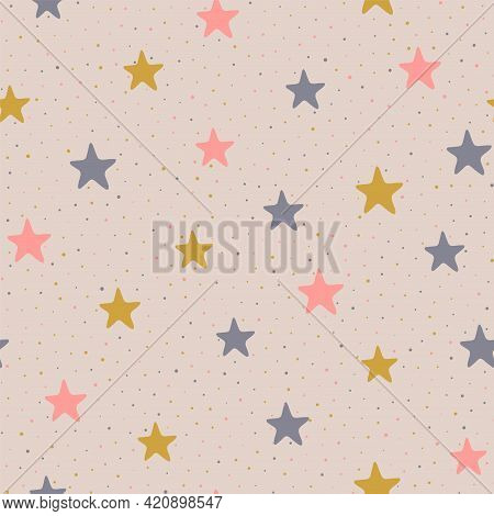 Stars And Dots Childish Vector Seamless Pattern Graphic Design.