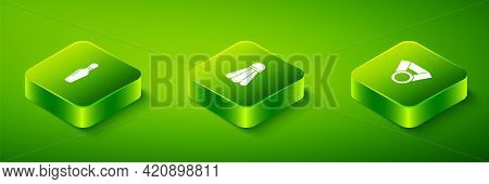Set Isometric Badminton Shuttlecock, Medal And Bowling Pin Icon. Vector