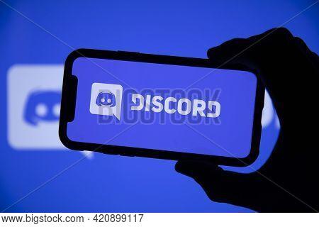 London, Uk - May 2021: Discord Social Network Logo On A Smartphone