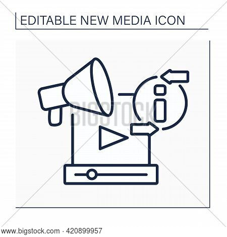 Promotion Video Line Icon. Publicize Recording. Announce About New Services, Products. Advertising.