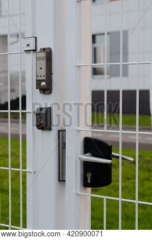 Video Call With A Button And A Video Camera On The Entrance Street Metal Door