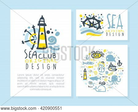 Sea Club Original Design Card Templates Set, Poster, Flyer, Invitation With Marine And Nautical Seam
