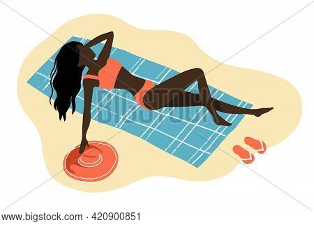 Girl Relaxing And Sunbathing On The Beach, Color Illustration On A Summer Theme