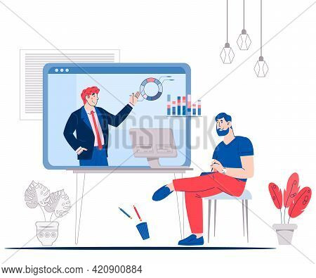 Business Negotiations Online Service Or Platform Concept, Cartoon Vector Isolated.