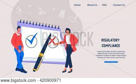 Website On Regulatory Compliance And Regulation, Business Standards, Flat Vector.