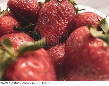 Red Beautiful Sweet Tasty Healthy Berry Ripe Vitamin Strawberry On A Plate As A Dessert Or Snack