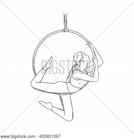 Circus Logo With Aerial Woman Gymnast. Aerial Acrobat In The Ring. Sketch Vector Illustration
