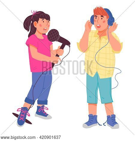 Cute Girl And Boy Singing Together, Flat Vector Illustration Isolated.