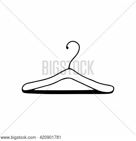 Clothes Rack. Black And White Vector Illustration In Doodle Style Isolated Single. Tool For Organizi