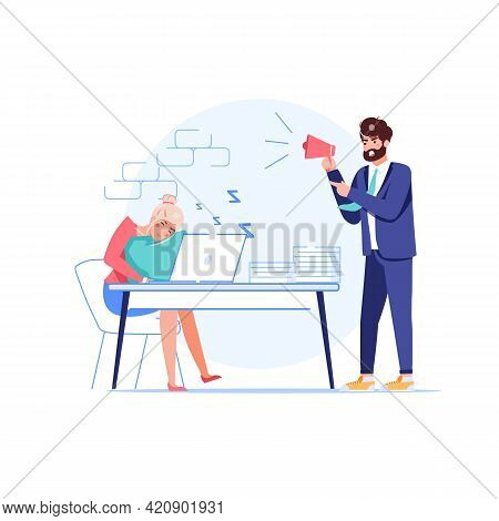 Vector Cartoon Flat Boss Manager, Office Worker Characters At Work Conflict Scene.angry Boss Shout A