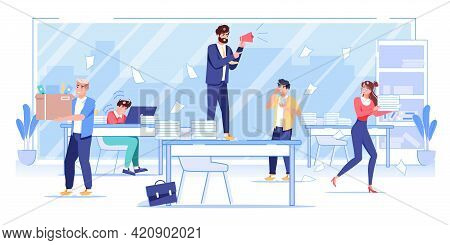 Vector Cartoon Flat Boss Manager, Office Worker Characters At Work Conflict Scene.angry Boss Shouts