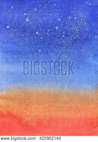 Watercolor Sky Background. Evening Red Blue Starry Sky