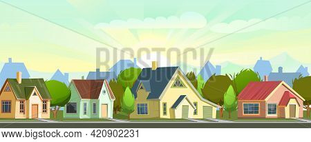 Street With Houses In A Small Rural Town. The Lights Of A Sun. Cartoon Cheerful Flat Style. Road. Vi