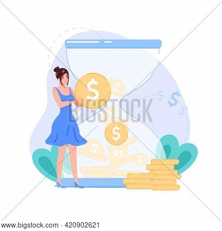 Vector Cartoon Flat Woman Character Present Symbol Of Income On Hourglass Background.happy Girl Hold