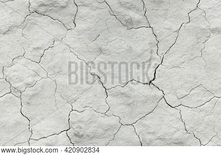 Seamless White Cracked Background Texture, Light Background With Dark Scratch, The Ground Near The C