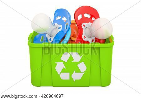 Recycling Trashcan With Baby Pacifiers, 3d Rendering Isolated On White Background