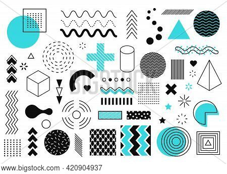 Memphis Graphic Elements. Abstract Geometric Shapes, Line, Circle, Triangle, Halftone Element. Retro