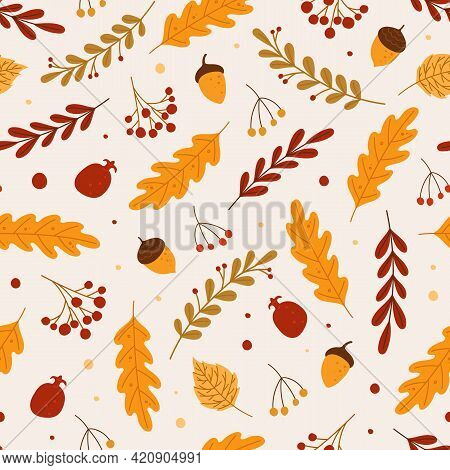 Autumn Seamless Pattern. Red Or Yellow Dry Fallen Leaves, Acorns, Berries. Hand Drawn Foliage And Fa