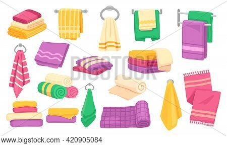 Towel. Cartoon Bath Rolled Towel Pile, Folded Stacked Towels, Hanging Kitchen Microfiber Clothes. Ba