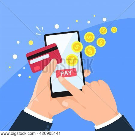Phone Payment. Paying Online In Shopping App Checkout Page. Holding Smartphone With Credit Card. Mob
