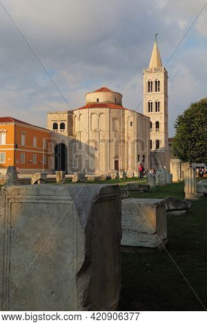 Zadar, Croatia - September 14, 2016: These Are The Ruins Of The Ancient Roman Forum, The Church Of S