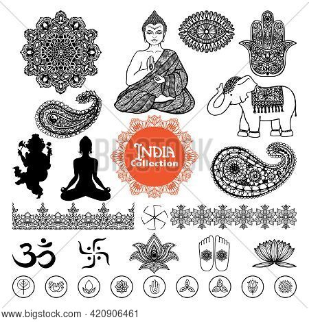 Hand Drawn India Design Elements Set  With Woman In Lotus Position Elephant  Tracery Pattern And Orn
