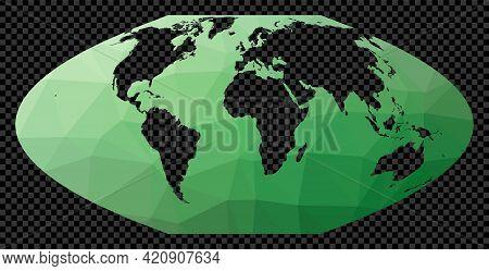 Transparent Digital World Map. Mt Flat Polar Parabolic Projection. Polygonal Map Of The World On Tra
