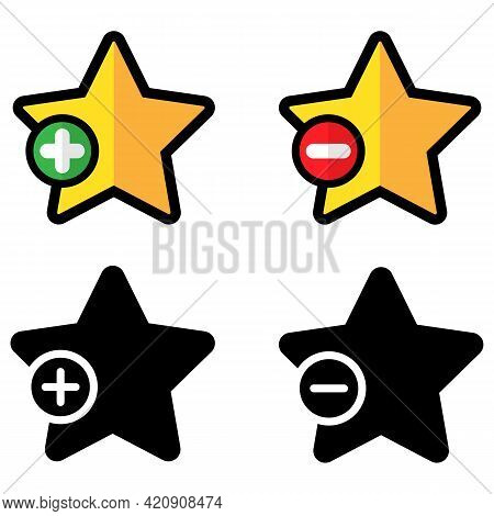Bookmark Buttons Icon Set. Add Or Remove From Favorite User Interface Star Shape Symbols. Vector Ill