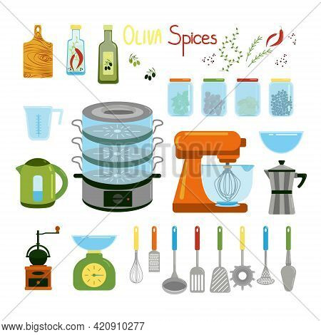 Kitchen Items, Kettle, Mixer, Geyser Coffee Maker, Steamer, Captive And Various Spatulas For Cooking