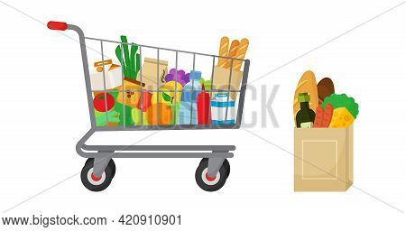 Grocery Purchase Vector Set. Shopping Trolley, Paper Package With Groceries. Foods And Drinks, Veget